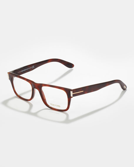 Unisex Soft Squared Fashion Glasses, Shiny Havana