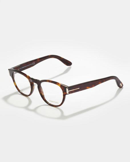 Unisex Soft Round Fashion Glasses, Dark Shiny Havana