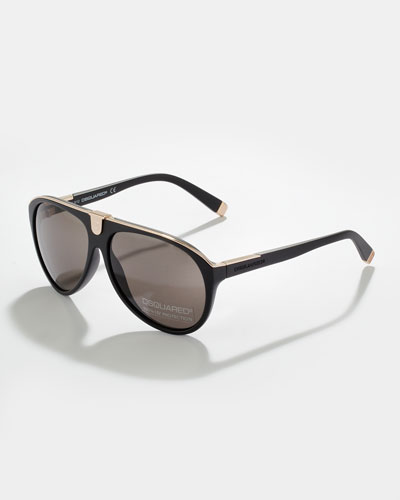 Acetate Aviator Sunglasses, Semi Shiny Black/Shiny Rose Gold