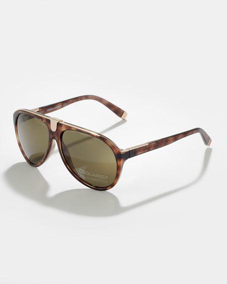 Acetate Aviator Sunglasses, Dark Havana/Rose Golden