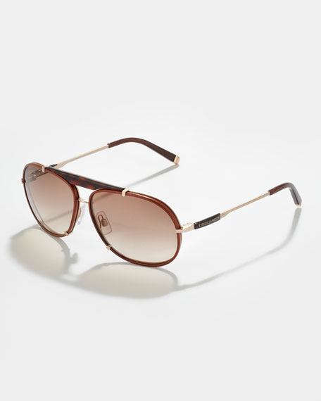 Metal & Leather Aviator Sunglasses, Havana