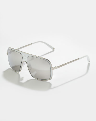 Metal Navigator Sunglasses, White