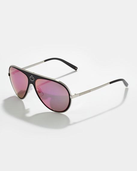Metal Aviator Sunglasses, Black