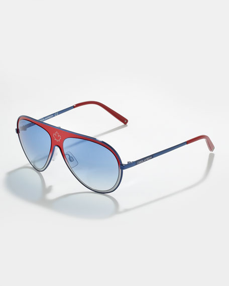 Metal Aviator Sunglasses, Red/Blue