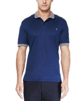 Alexander McQueen Short-Sleeve Logo Polo, Blue