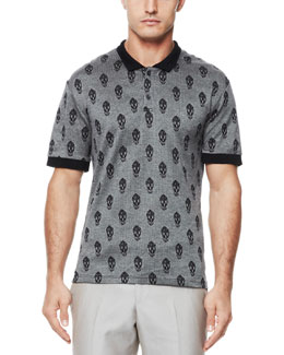 Alexander McQueen Allover Skull Short-Sleeve Polo, Black