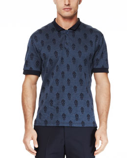 Alexander McQueen Allover Skull Short-Sleeve Polo, Navy