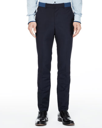 Trousers with Belt Detail, Navy