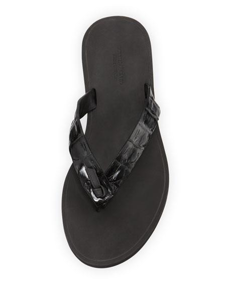 Men's Crocodile Thong Sandal, Black