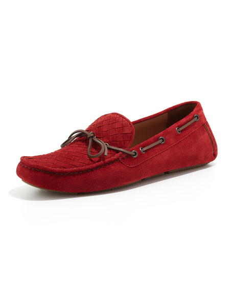Suede Woven-Front Driver, Red