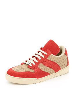 Bottega Veneta Woven Suede/Leather Low-Top Sneaker, Red