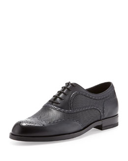 Bottega Veneta York Perforated Lace-Up, Navy