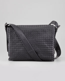 Bottega Veneta Men's Woven Flap Messenger Bag, Black
