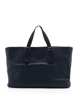 Bottega Veneta Large Woven Men's Tote Bag, Navy