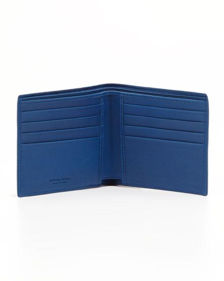 Woven Bi-Color Wallet, Brown/Blue