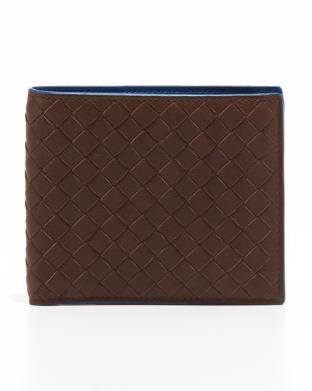 Woven Bi-Color Wallet, Brown/Blue