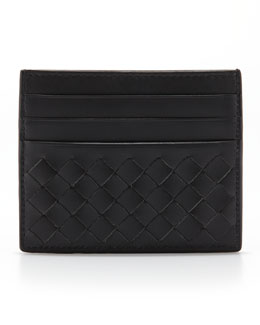 Bottega Veneta Flat Woven Card Case, Gray