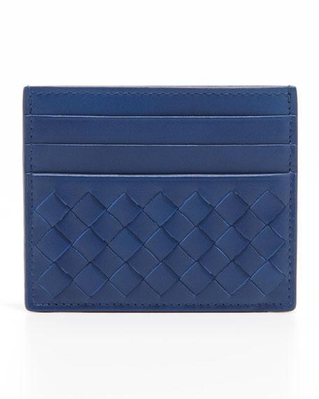 Flat Woven Card Case, Blue