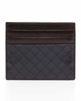 Bottega Veneta Scolpito Flat Card Case, Navy