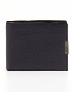 Bottega Veneta Polo Micro-Embossed Bi-Fold Wallet, Navy