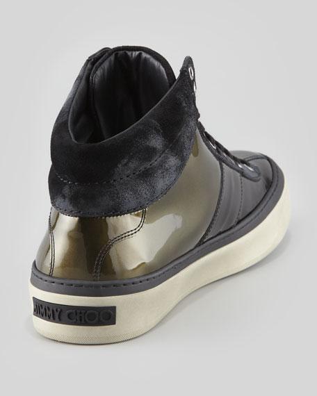 Belgravi Men's Ombre Patent Leather High-Top Sneaker, Olive