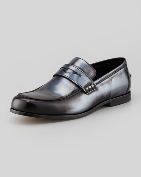 Men's Darblay Mirror-Leather Penny Loafer, Silver