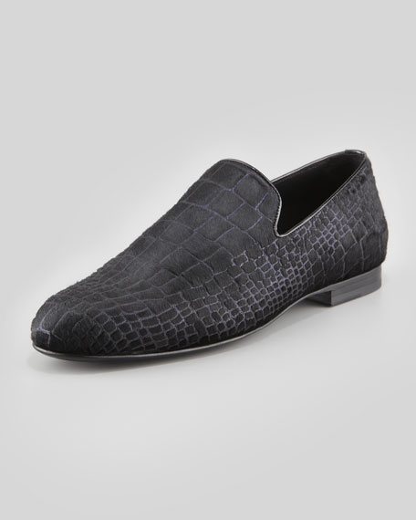 Sloane Croc-Print Calf Hair Slipper,
