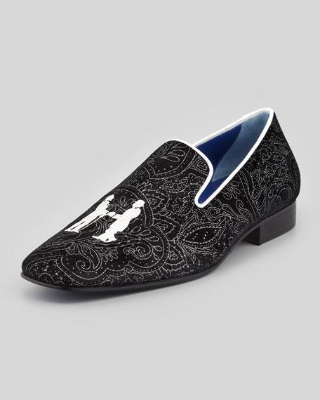 Drake Men's Paisley Smoking Slipper, Silver/Black