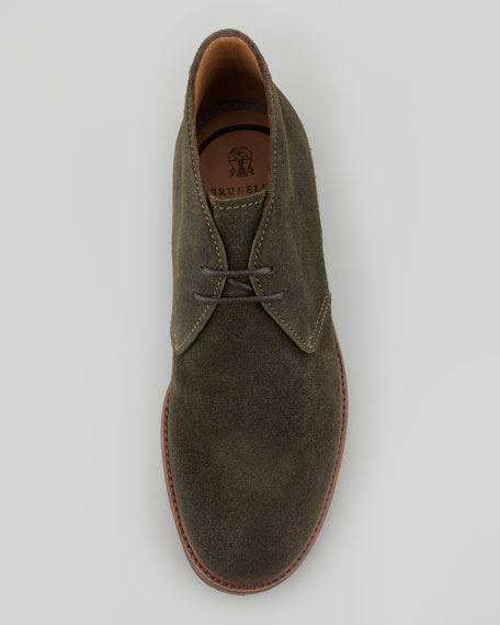Waxed Suede Chukka Boot, Green