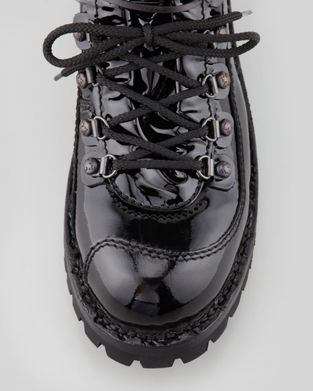 Chunky Patent Combat Boot, Black