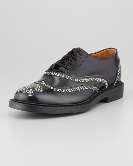 Studded Wing-Tip Shoe, Black