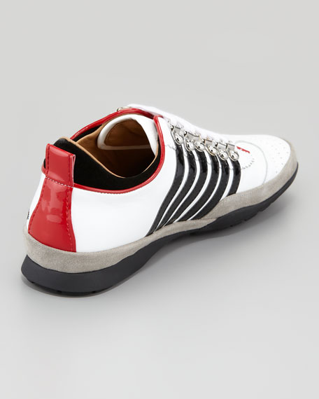 Striped Low-Top Sneaker, Black/White
