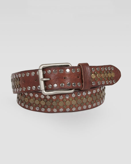 Singer Studded Leather Belt, Brown