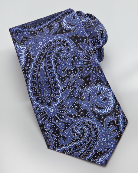 Woven Tonal-Paisley Silk Tie, Blue