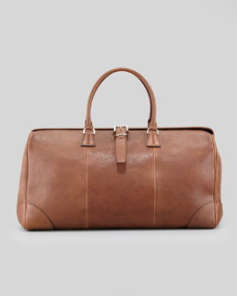 Brunello Cucinelli Large Leather Duffle/Doctor Bag, Cognac