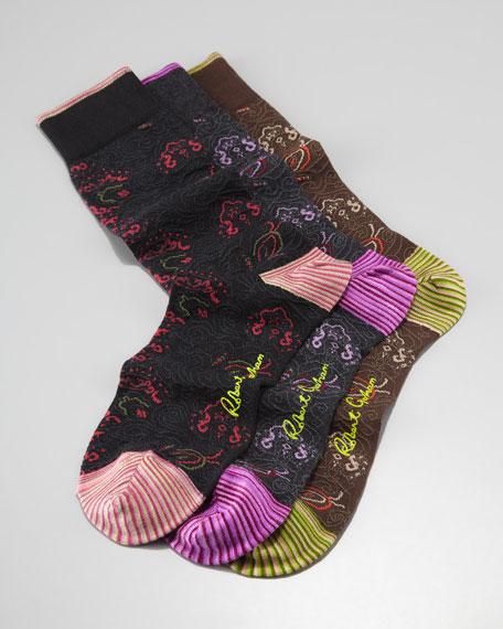 Nipper Paisley-Print Socks, 3-Pack