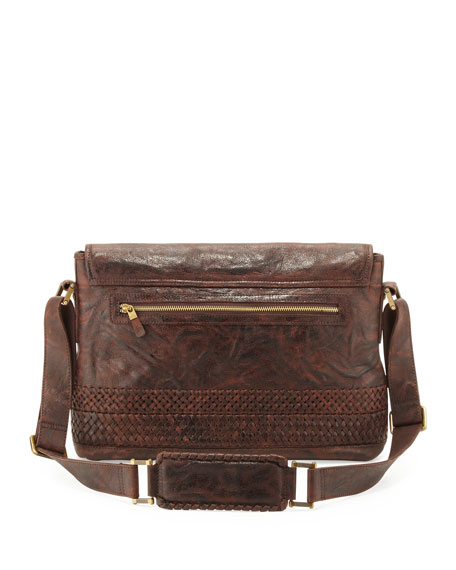 Haywood Braided Leather Messenger Bag, Brown