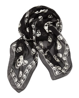 Alexander McQueen Men's Skull Chiffon Scarf, Black/Ivory