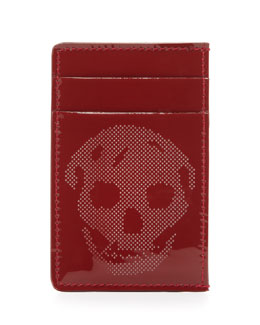 Alexander McQueen Patent Perforated-Skull Card Case, Red