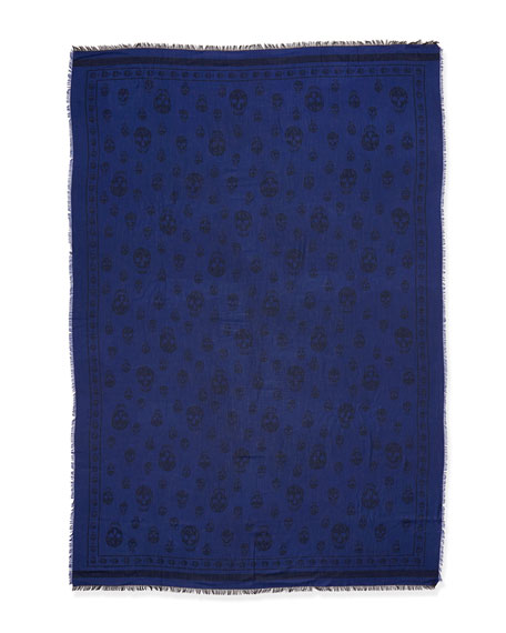 Skull-Print Scarf, Blue/Black
