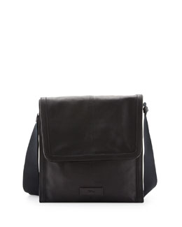 Alexander McQueen De Manta Leather Messenger Bag, Black