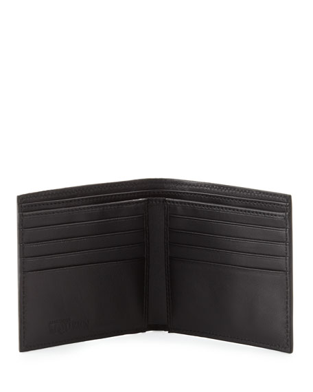 Patent Perforated-Skull Bi-Fold Wallet, Black