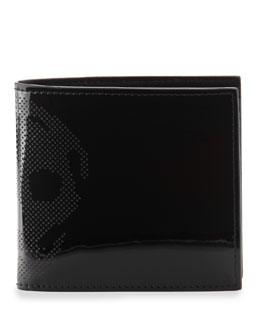 Alexander McQueen Patent Perforated-Skull Bi-Fold Wallet, Black