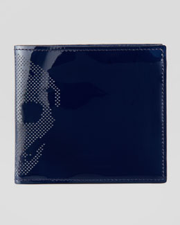 Alexander McQueen Patent Perforated-Skull Bi-Fold Wallet, Blue