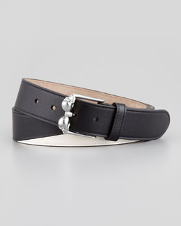 Alexander McQueen Men's Double-Skull-Buckle Belt, Black