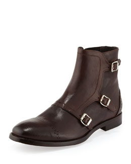 Alexander McQueen Triple-Monk-Strap Leather Boot