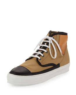 Alexander McQueen Jungle Men's High-Top Sneaker, Black/Sand