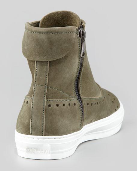 Men's Perforated Suede Hi-Top Sneakers