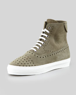 Alexander McQueen Men's Perforated Suede Hi-Top Sneakers