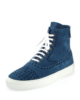 Alexander McQueen Suede Perforated Zip High-Top, Blue